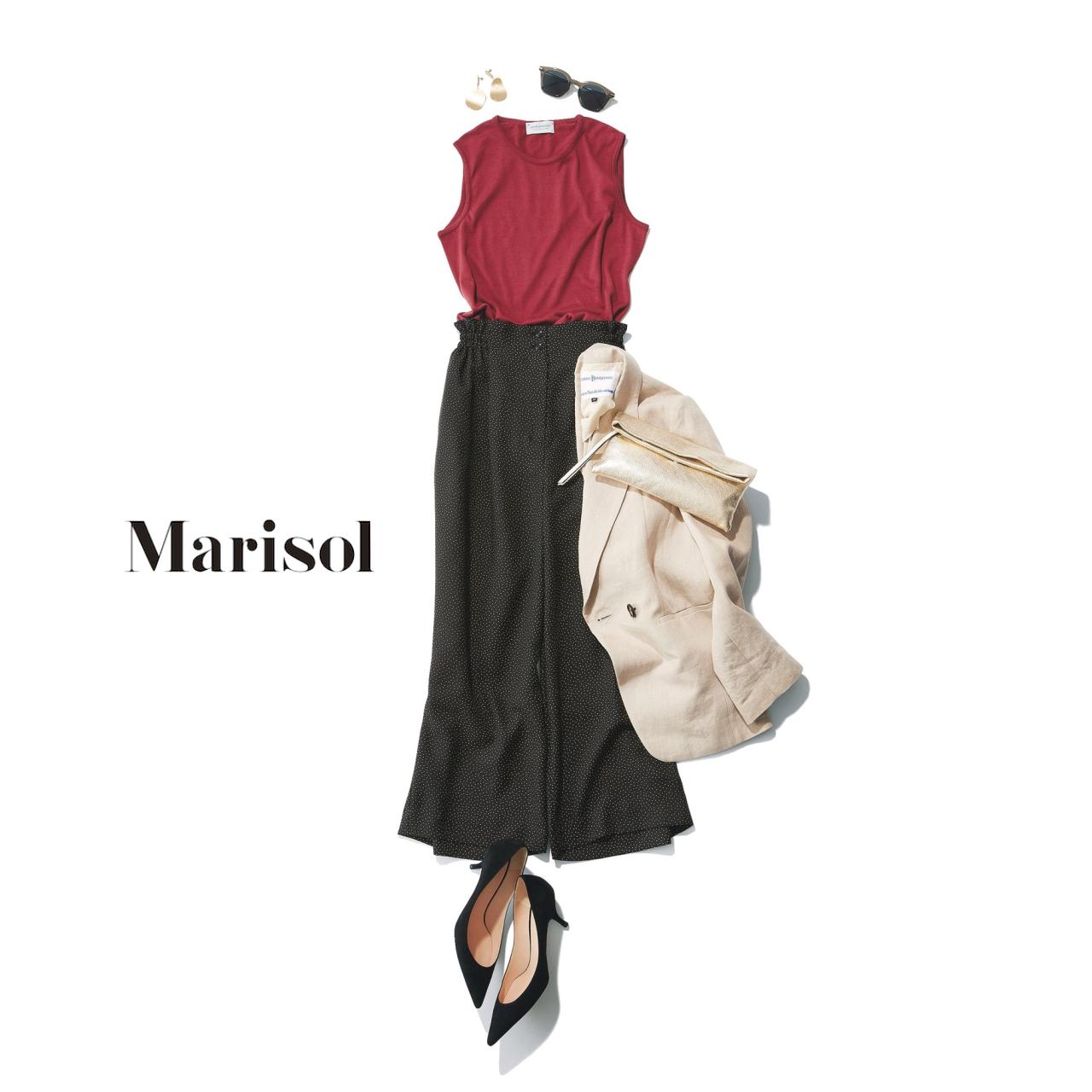 40代ファッション ブラウンニット×ドット柄ワイドパンツコーデ