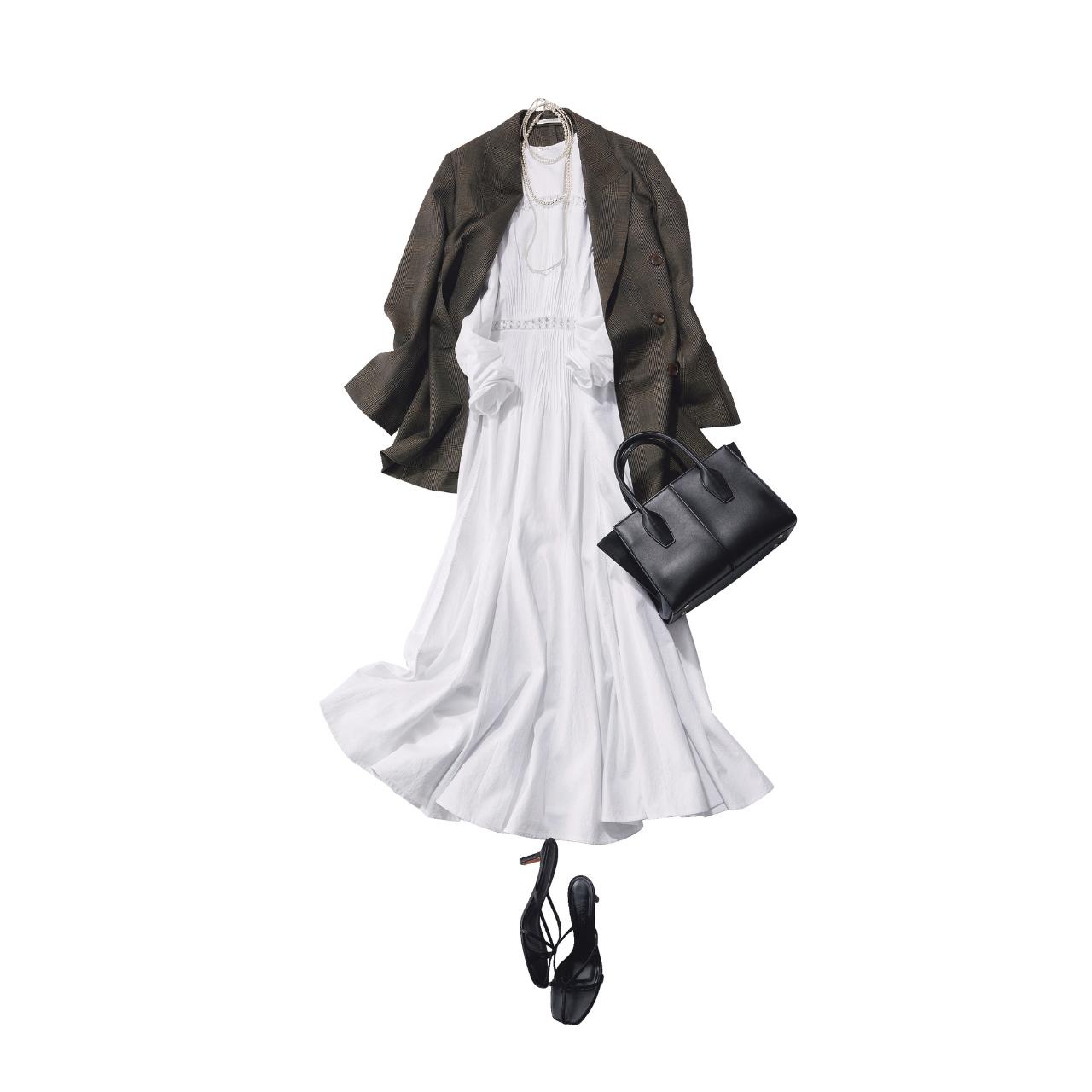■白ワンピース×テーラードジャケットコーデ