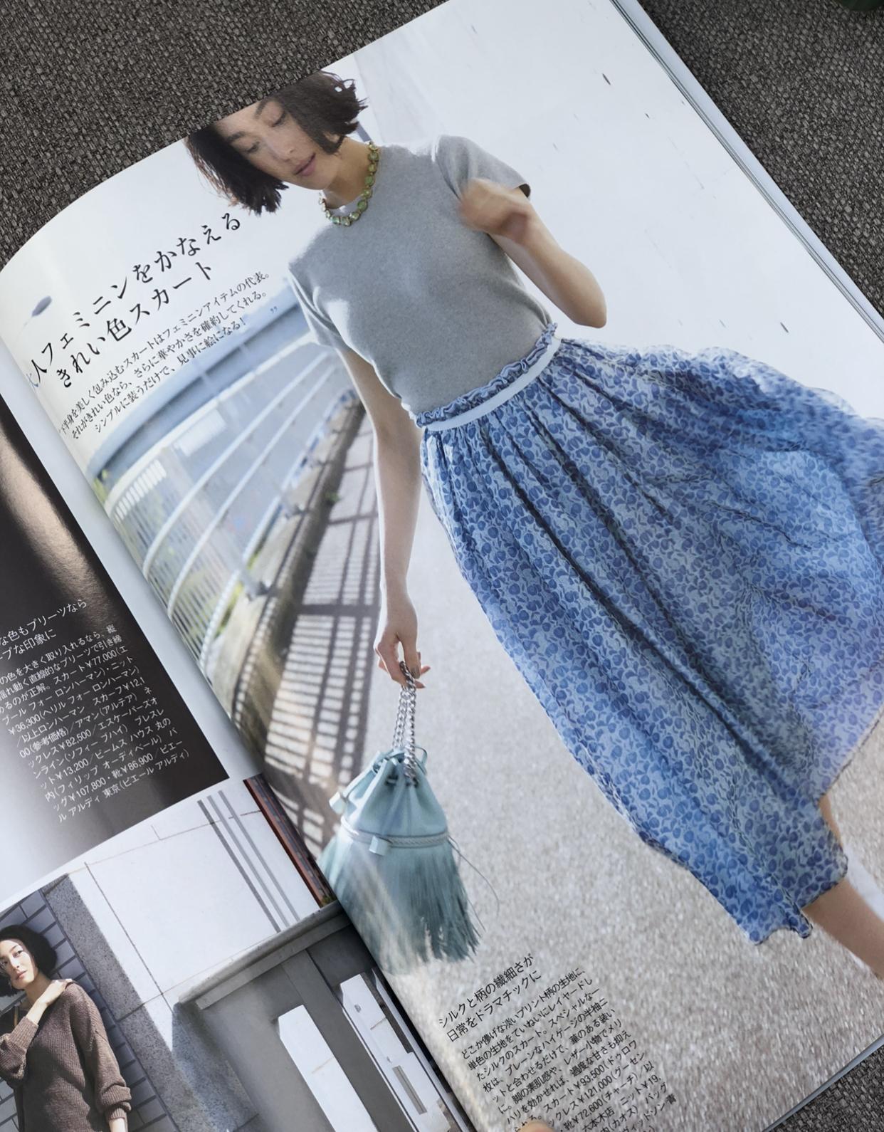 きれい色スカートと白シャツコーデ_1_2-2