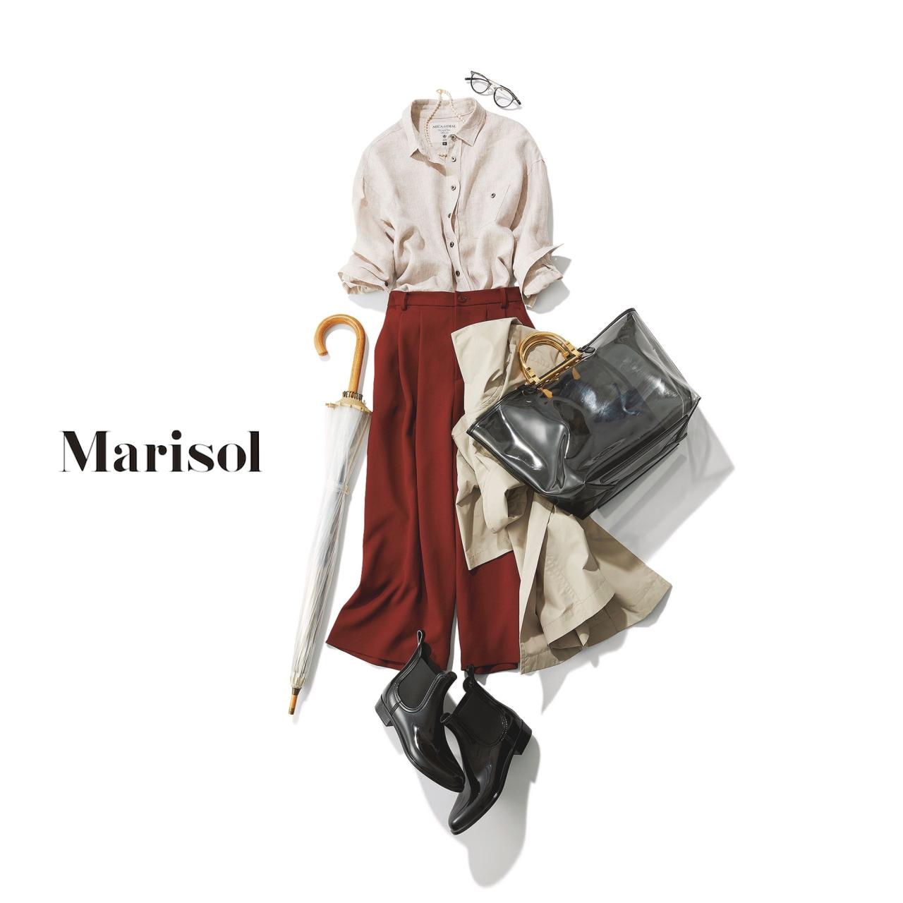 40代ファッション 撥水トレンチコート×リネンシャツ×ワイドパンツコーデ