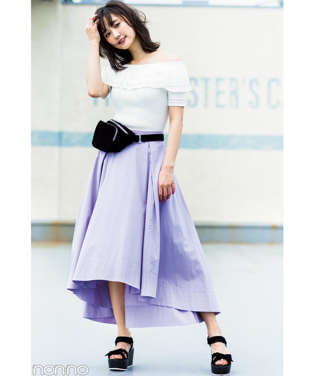 【夏のロングスカートコーデ】鈴木友菜は、HOTなラベンダースカートでキレイめ+女っぽ♪
