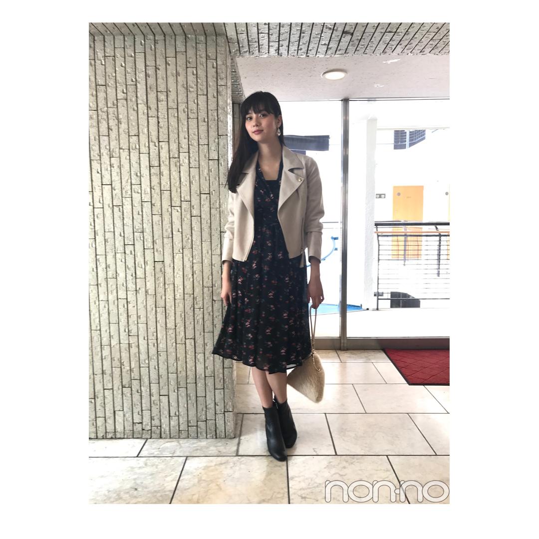 新川優愛が着る淡色ライダースの甘辛MIXコーデ【毎日コーデ】_1_1