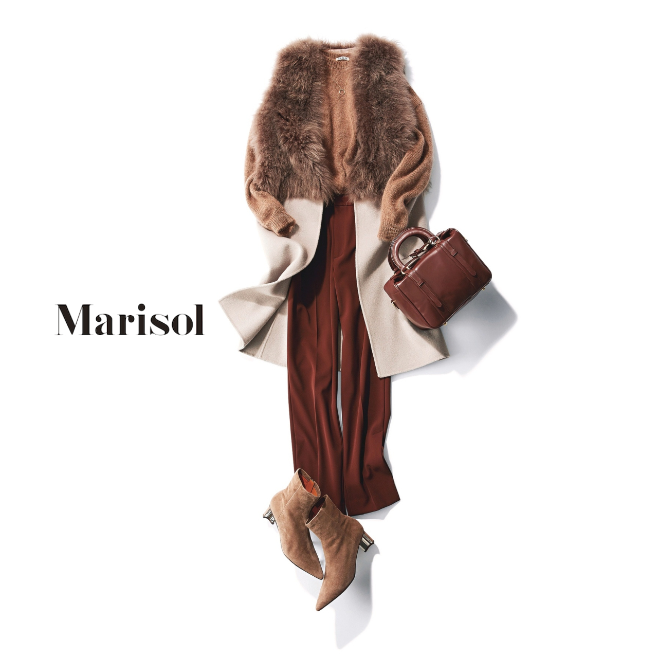 40代ファッション ファーつきジレ×ドレスパンツコーデ