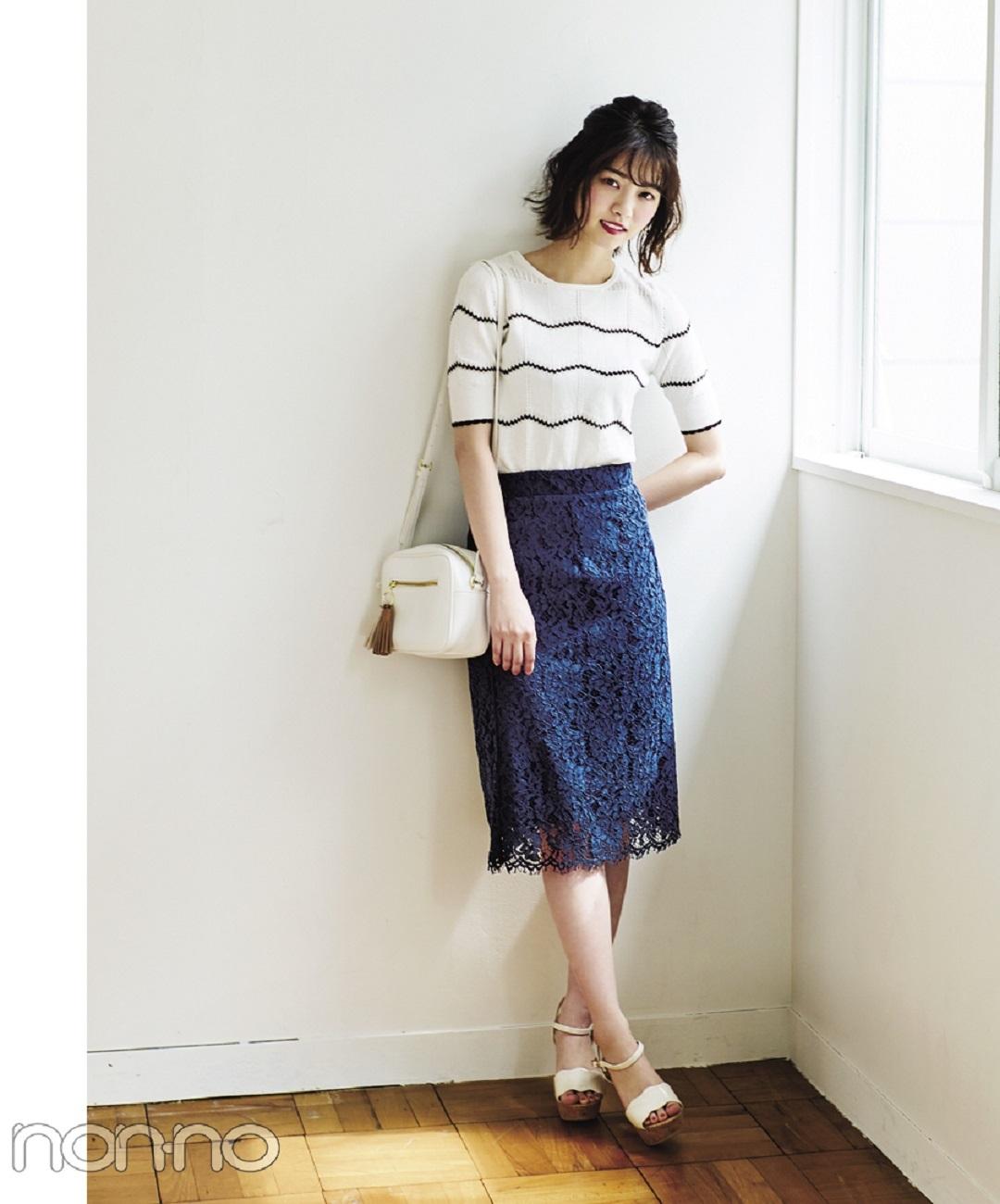 【夏のサンダルコーデ】江野沢愛美の丸いシルエットで可愛げなウエストポーチ×ワンピースでキレイめコーデ。
