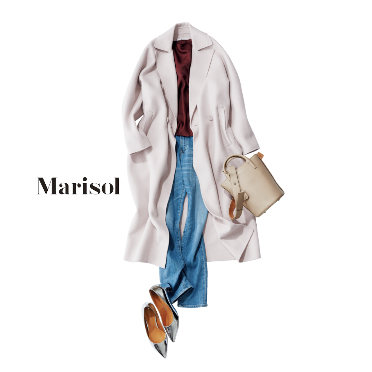 40代ファッション ダスティピンクのコート×デニムコーデ