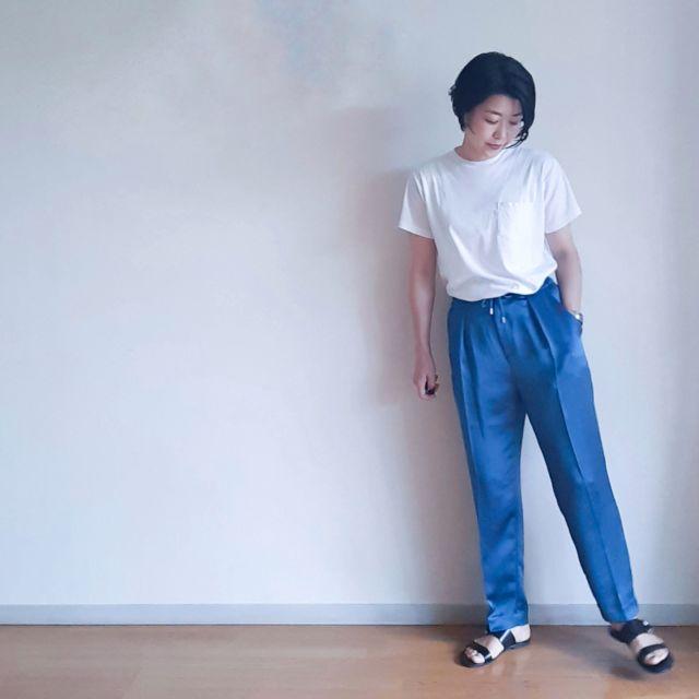 【夏の定番Tシャツコーデ】旬のロゴT 私は後ろで取り入れました。_1_4-1