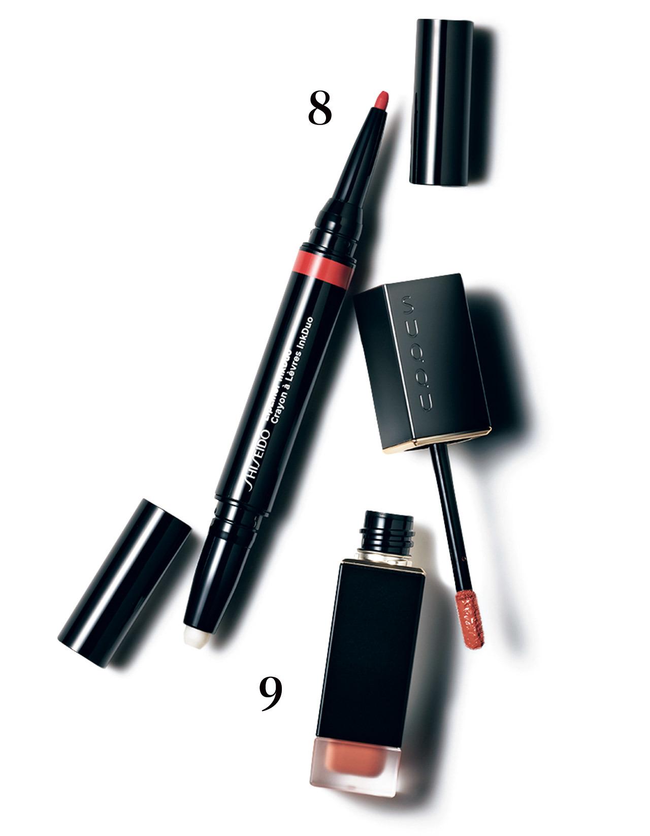❽端正な輪郭に仕立てるペンシル。下地を活用すればにじみもなし。SHISEIDO リップライナーインクデュオ 04¥2,600/資生堂インターナショナル ❾唇にフィルターをかけたようなソフトマット質感でソフィスティケート。コンフォート リップ フルイド フォグ 06¥5,000(9/4発売)/SUQQU