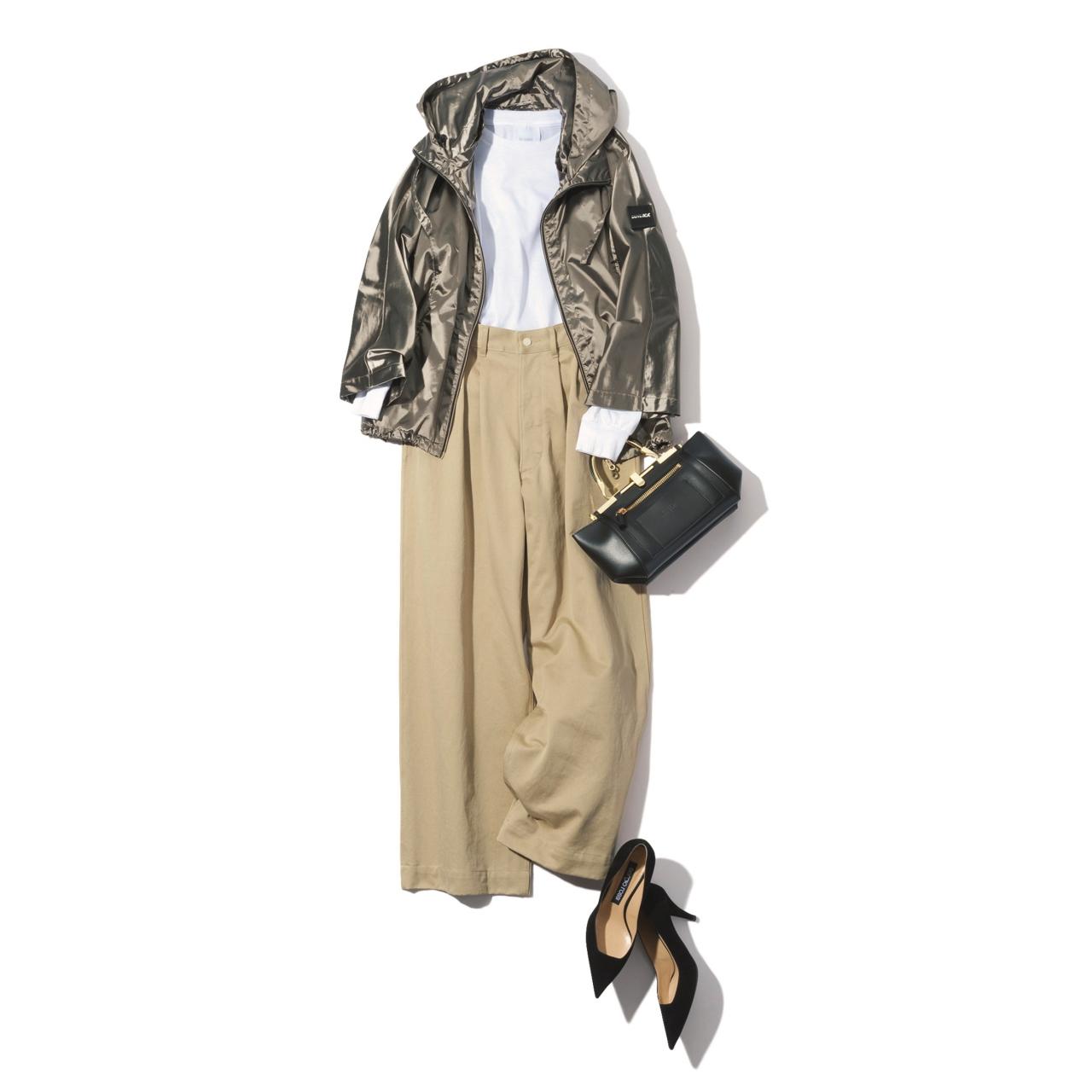 ベージュのワイドパンツ×ブルゾンのファッションコーデ