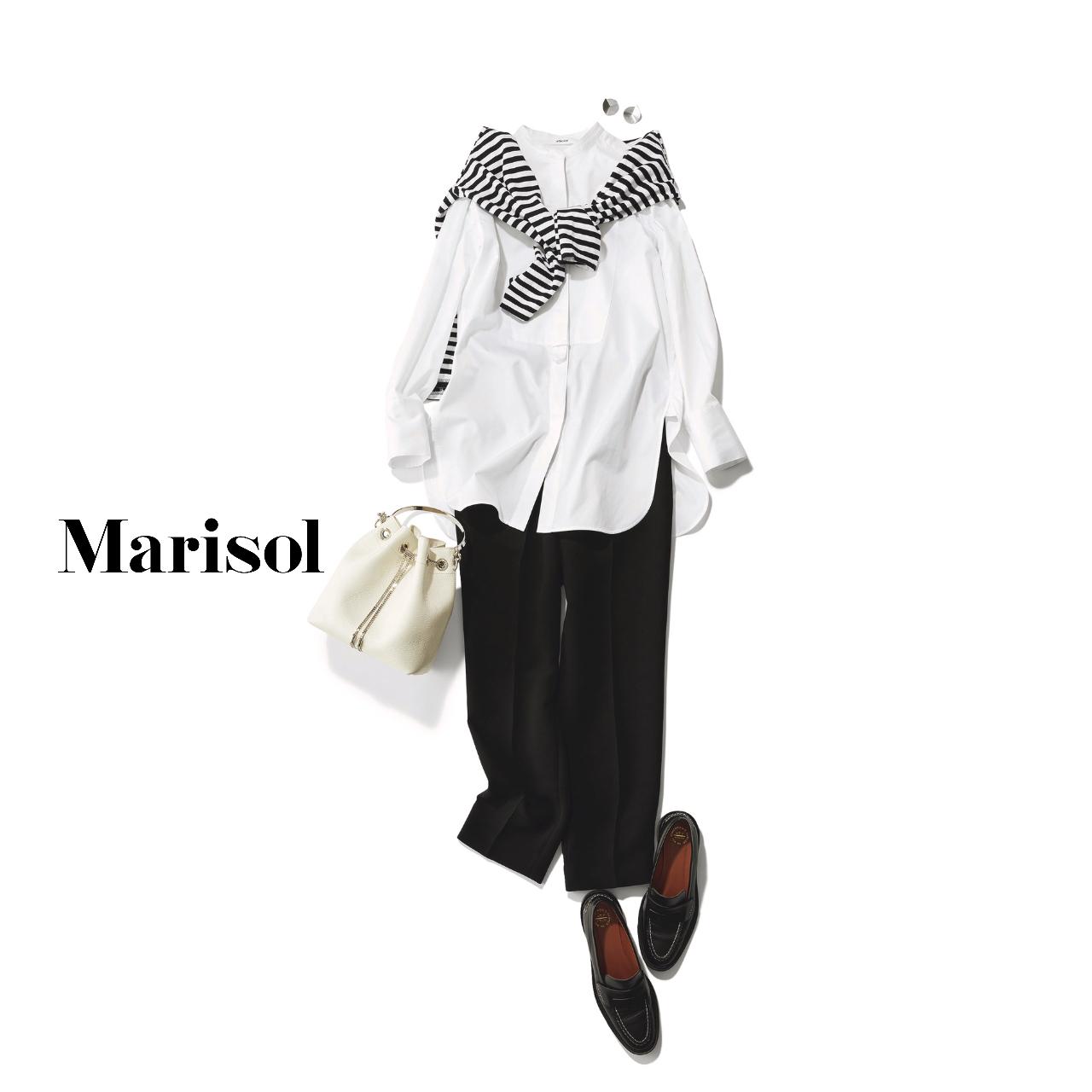 40代ファッション 肩がけボーダー×白シャツ×黒パンツコーデ