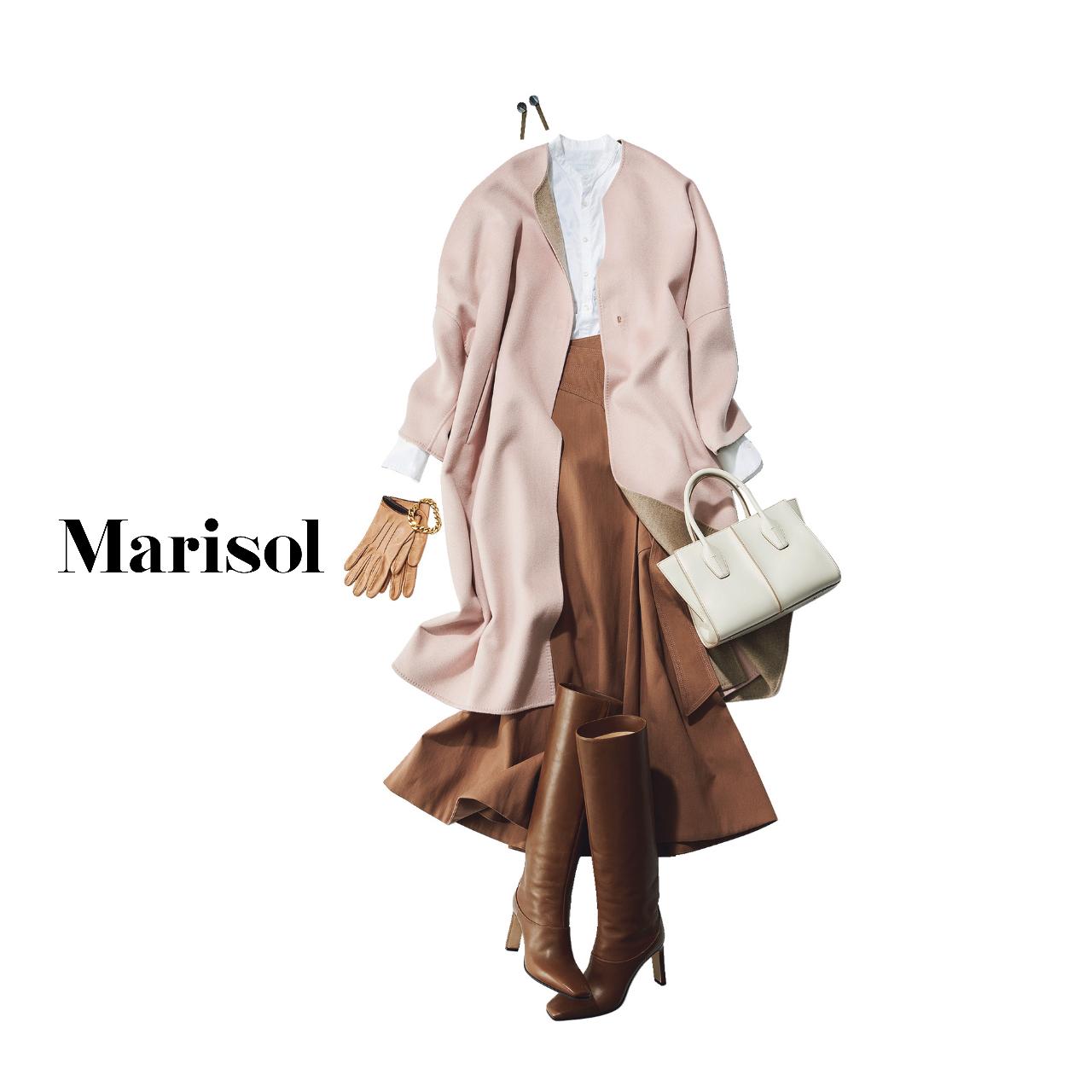 40代ファッション ピンクコート×シャツ×スカートコーデ