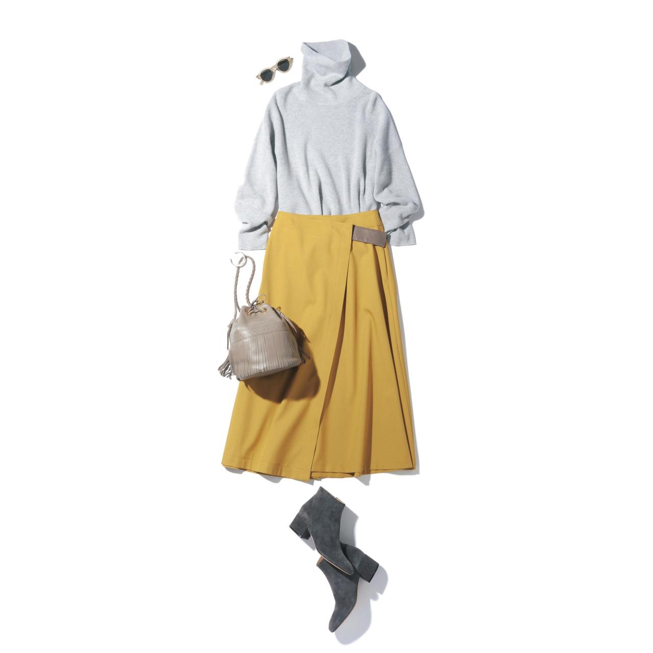 グレーニット×イエロースカートのファッションコーデ