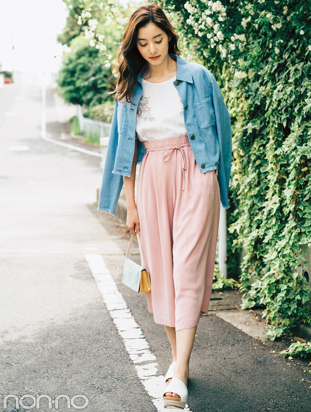 ピンクスカーチョ&ワイドパンツ、スタイルUPの正解コーデ★_1_2