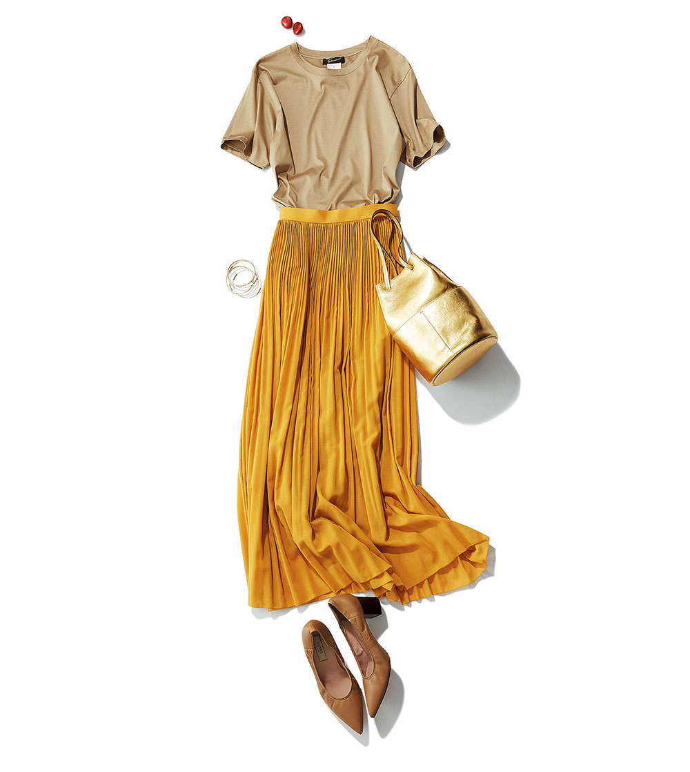 Tシャツ+ふんわりスカートのマンネリコーデに何を足す?_1_3-1