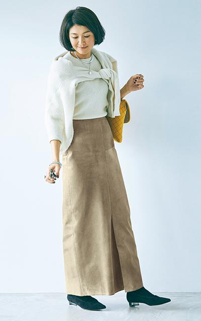 ブルーバード ブルバードのスエードスカートコーデの松井陽子さん