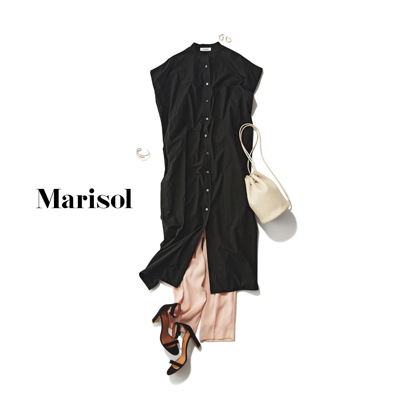 40代ファッション  黒シャツワンピース×ピンクパンツ×サンダルコーデ