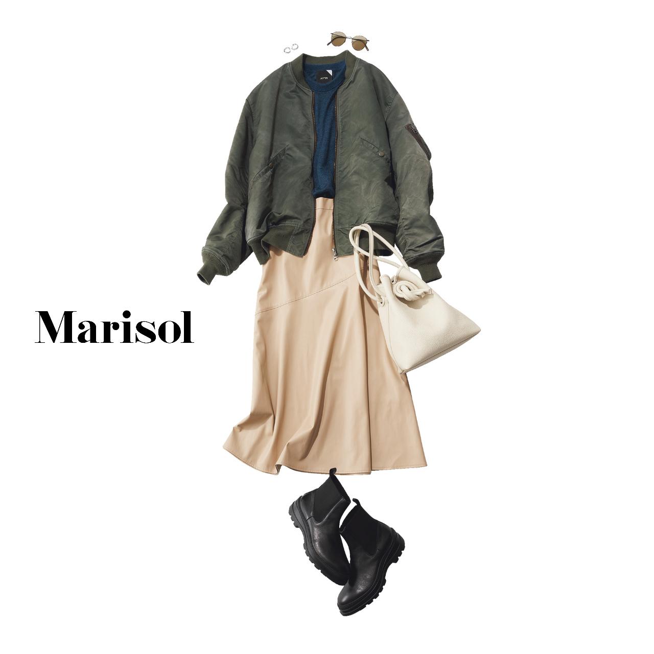 40代ファッション  ブルゾン×ニット×エコレザースカート×サイドゴアブーツコーデ