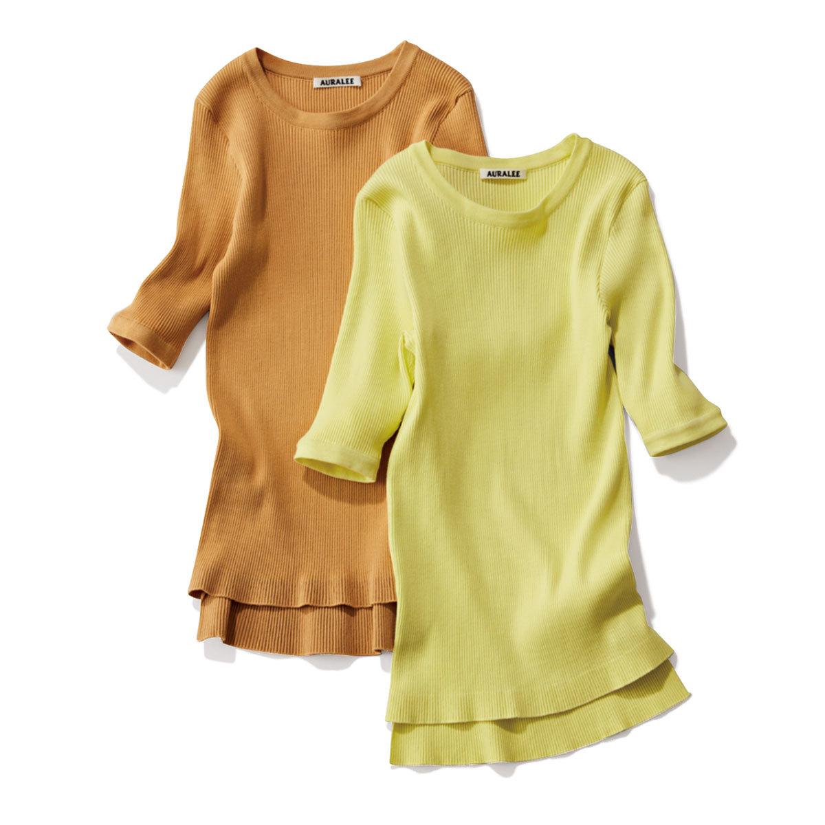 40代ファッション2019年夏のお買い物_AURALEEの半袖リブニット