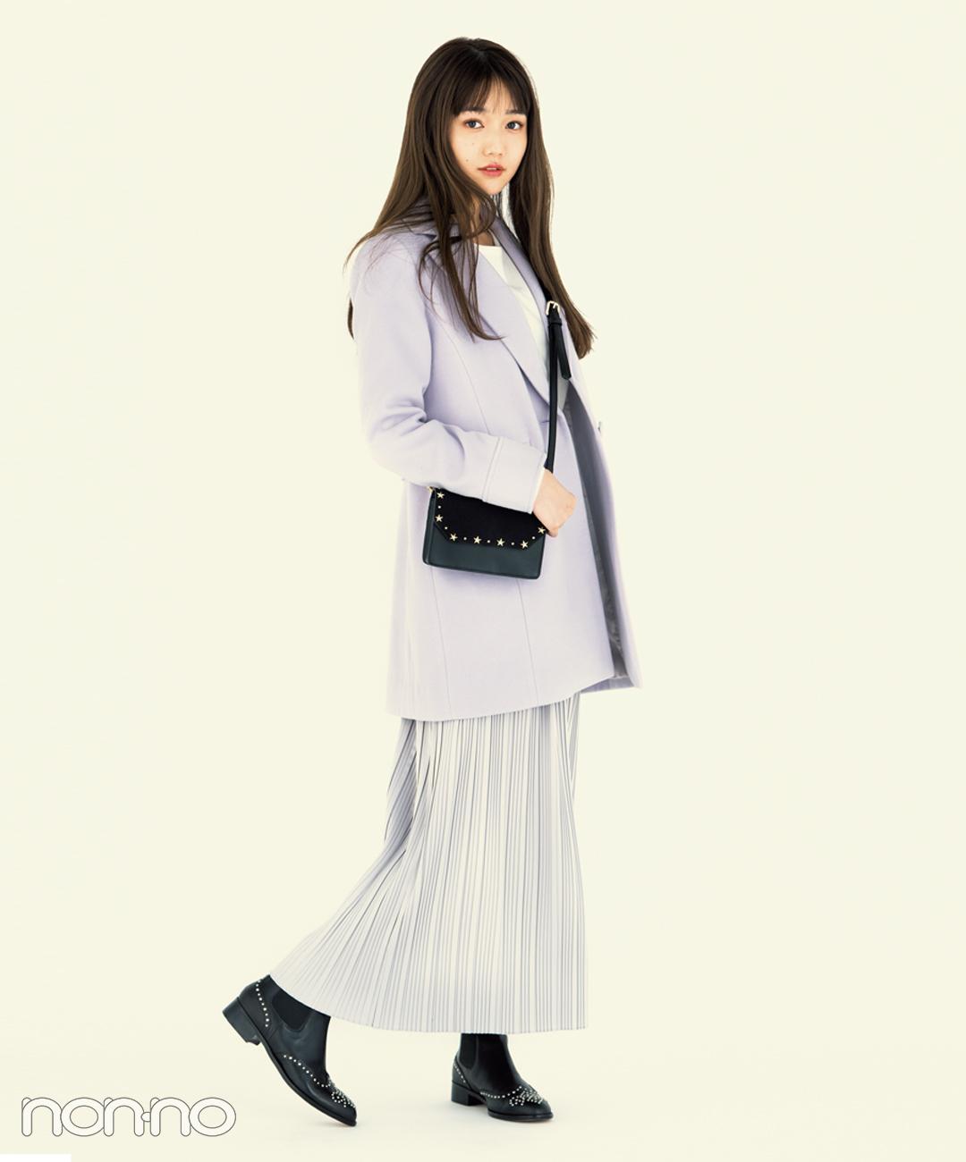 【プリーツスカートコーデ3】ラベンダーコート×淡色プリーツスカート