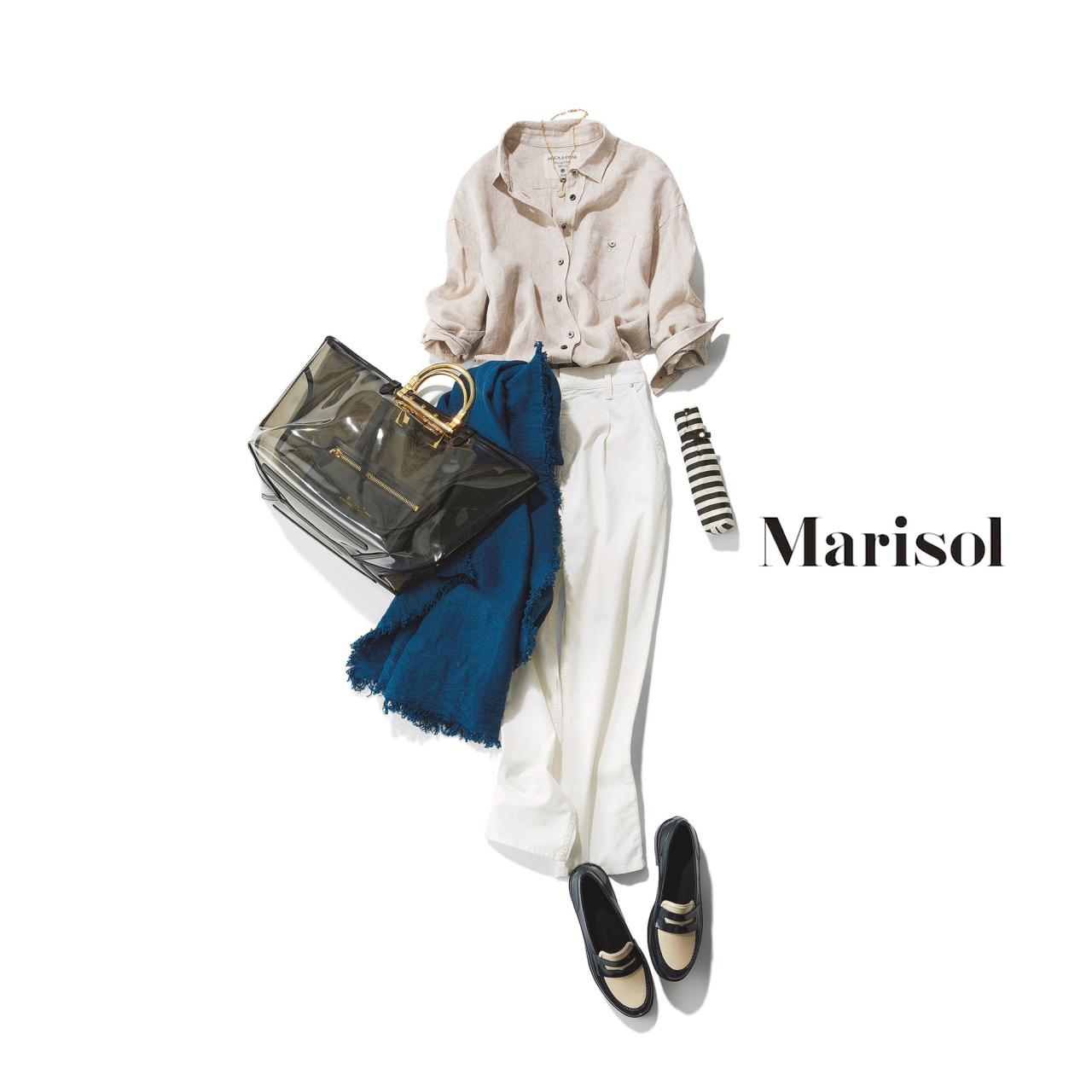 40代ファッション リネンシャツ×ホワイトパンツコーデ