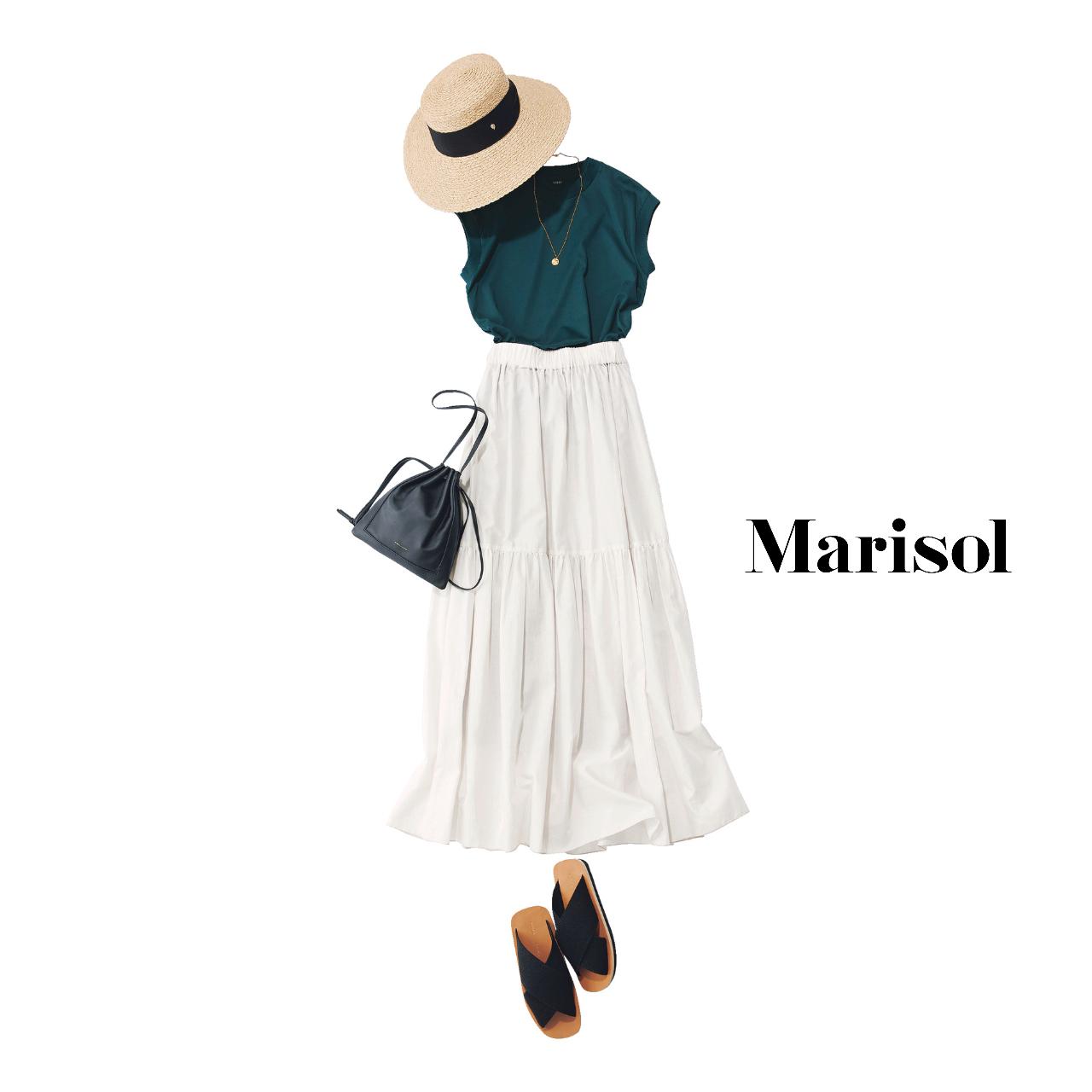 40代ファッション   Tシャツ×ティアードスカート×帽子コーデ