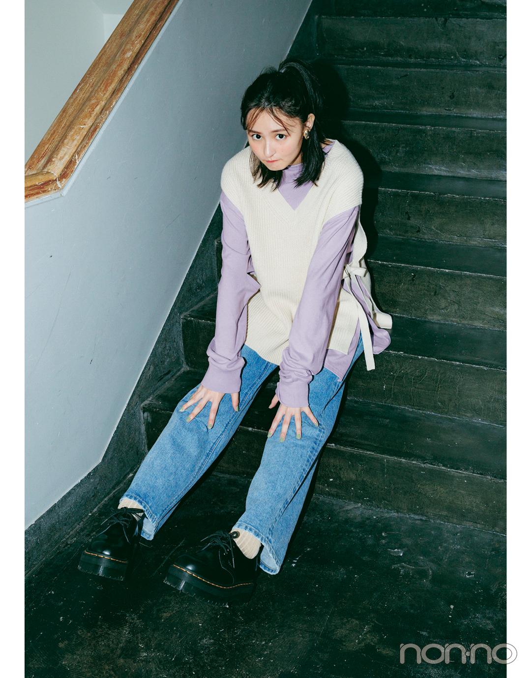三女・遠藤さくらは「ハイウエストストレート」で今っぽスウィートに①【坂道3姉妹のデニム】_1_5