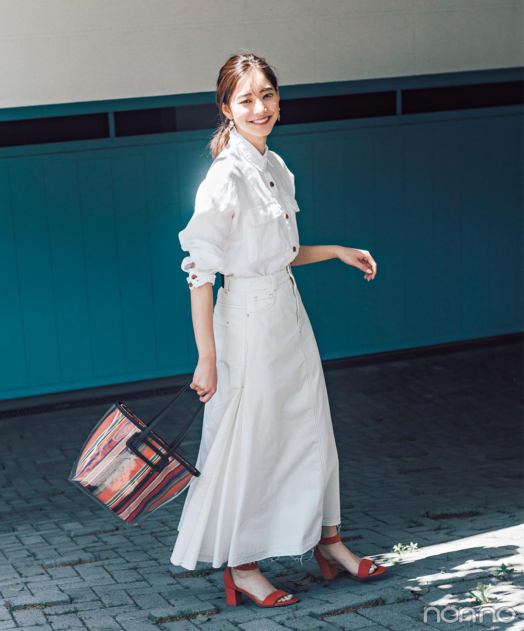 新木優子はリネンとデニムで全身ホワイトコーデ!【毎日コーデ】