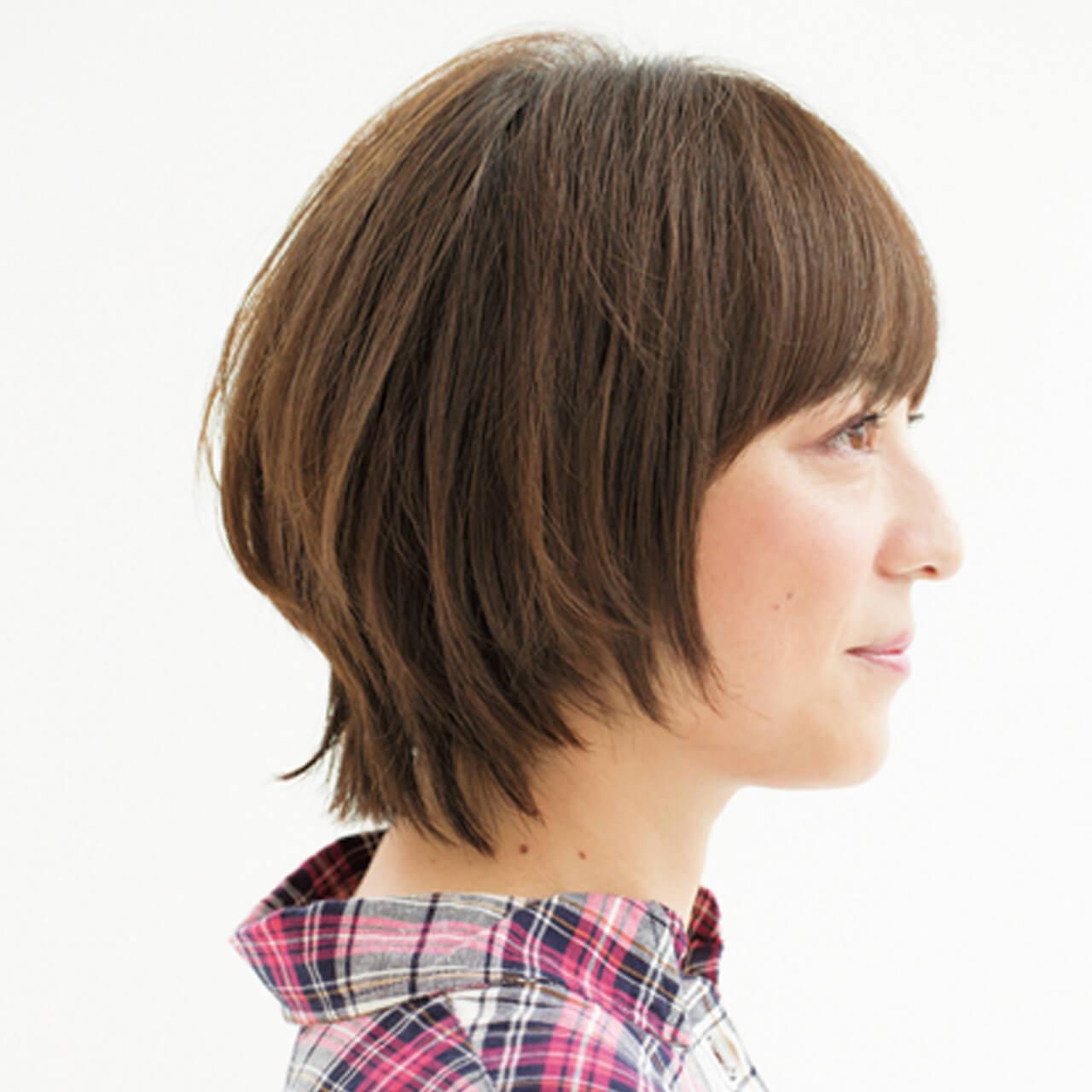 前髪ぱっくり問題はこれで解決! 小顔効果も抜群の印象ショート【40代のショートヘア】_1_2
