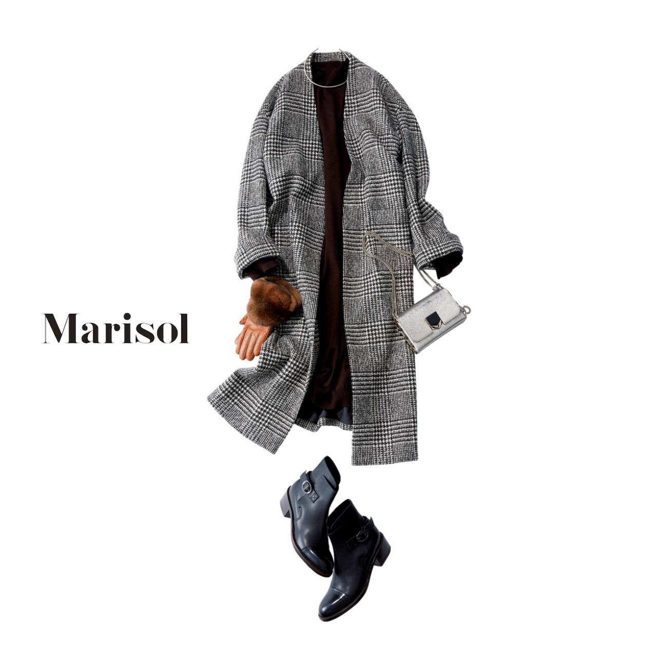 ニットワンピース×グレンチェック柄コートコーデのファッションコーデ