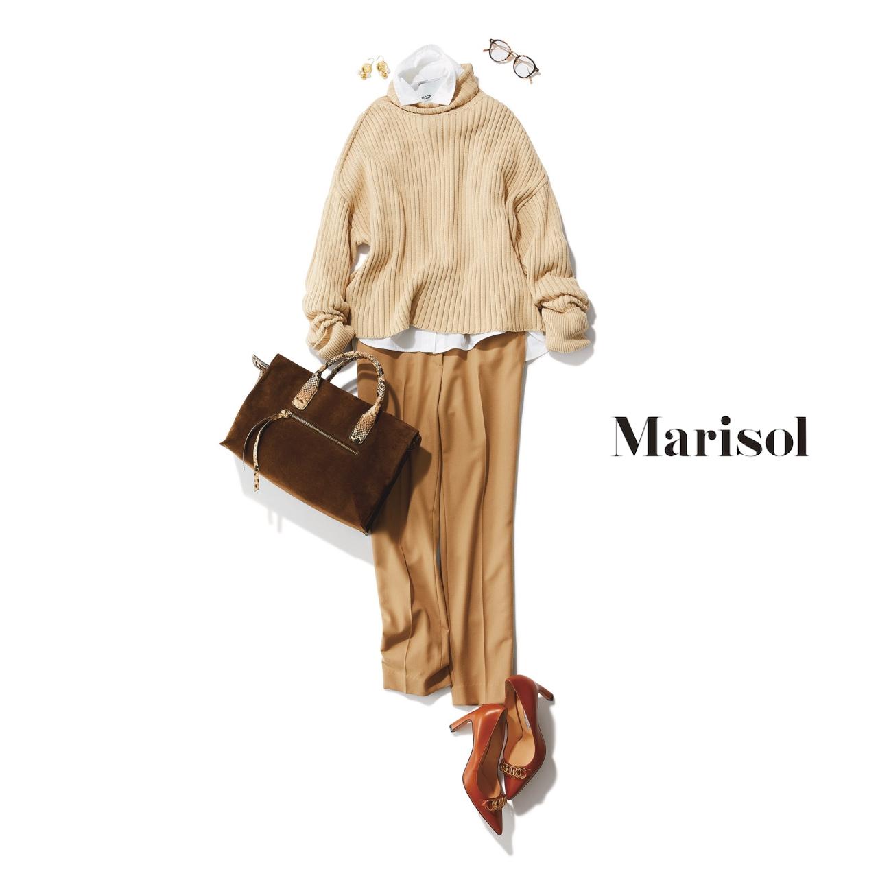 40代ファッション ベージュトーンのシャツ×ニット×パンツコーデ