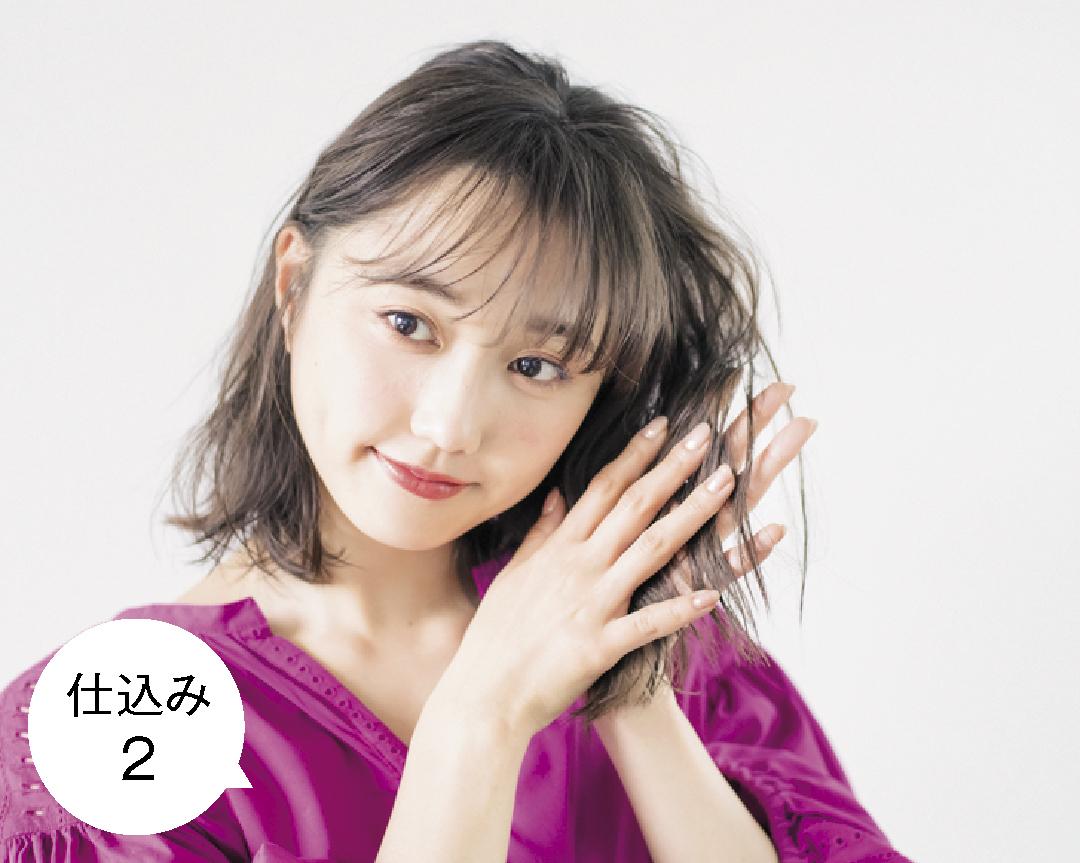 ミディアムの#彼女感ヘアアレンジ♡ シースルー前髪&後れ毛のまとめ髪HOWTO_1_2-2