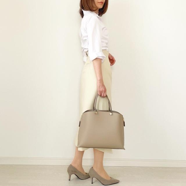 白シャツ×異素材mixスカートできれいめスタイル【tomomiyuコーデ】_1_4