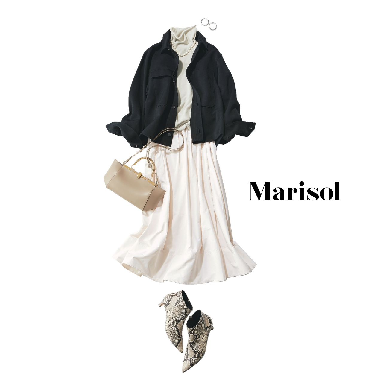 40代ファッション 白タートルネックニット×白スカート×ジャケットコーデ