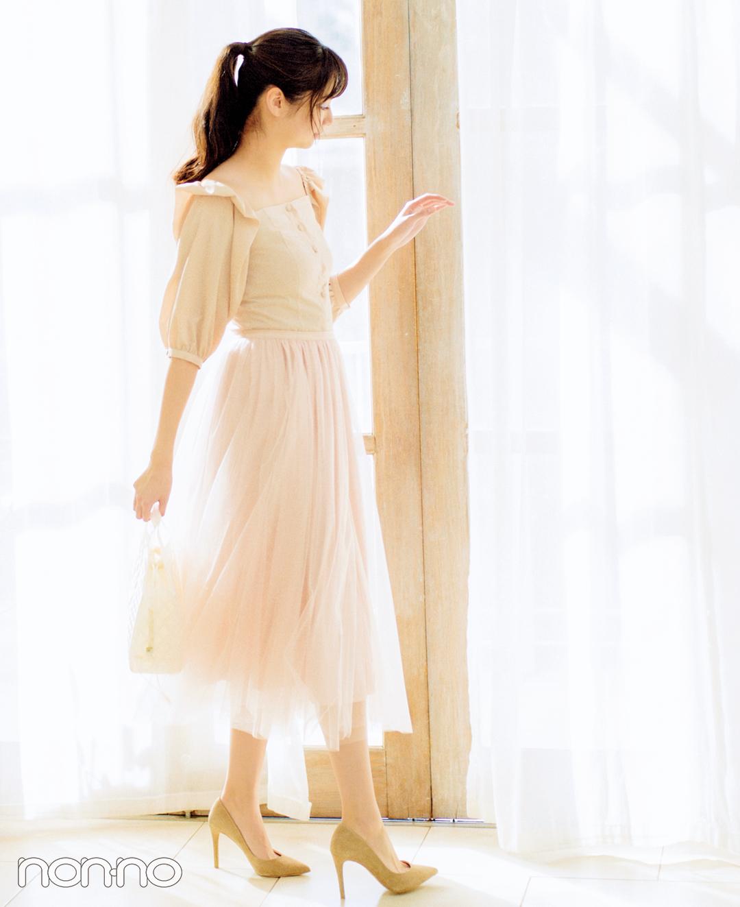 憧れ春コーデNO.1! 新川優愛が着る桜ピンクのチュールスカート♡ _1_1