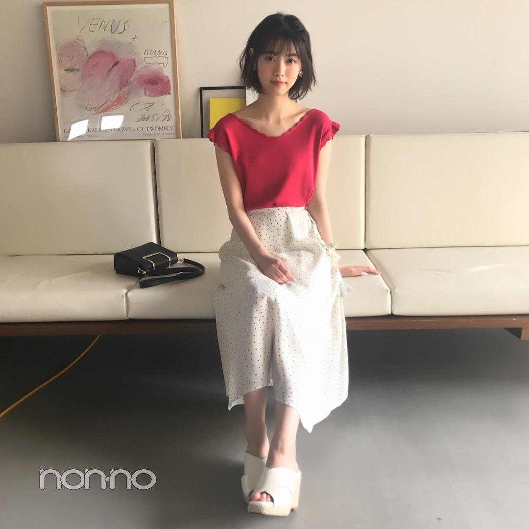 西野七瀬はドット柄スカートに赤のニットで華やかに♡ 【毎日コーデ】_1_1