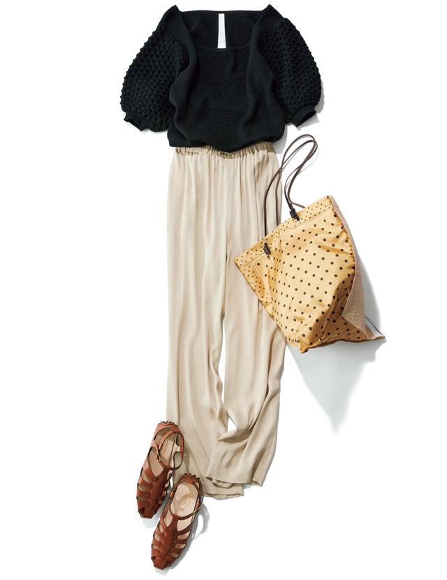 大草直子 春のワンツーコーデはつなぎ色パンツがこなれ感を演出