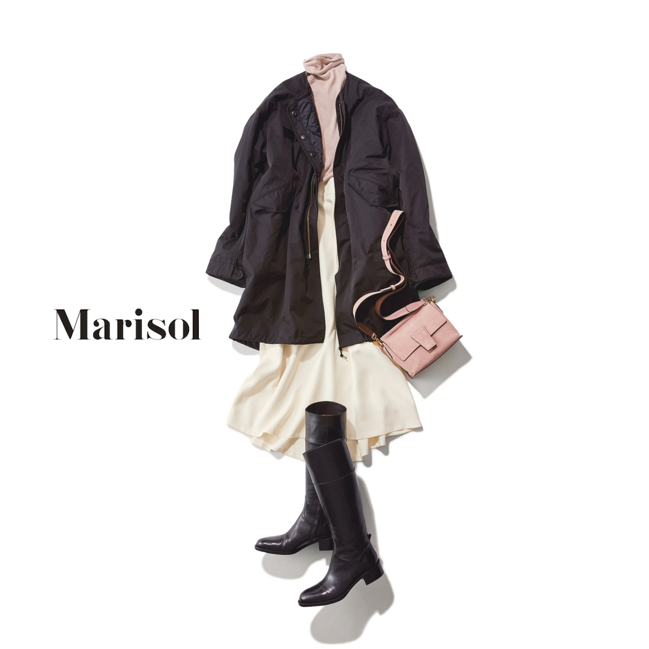 40代ファッション フィールドコート×フレアスカートコーデ