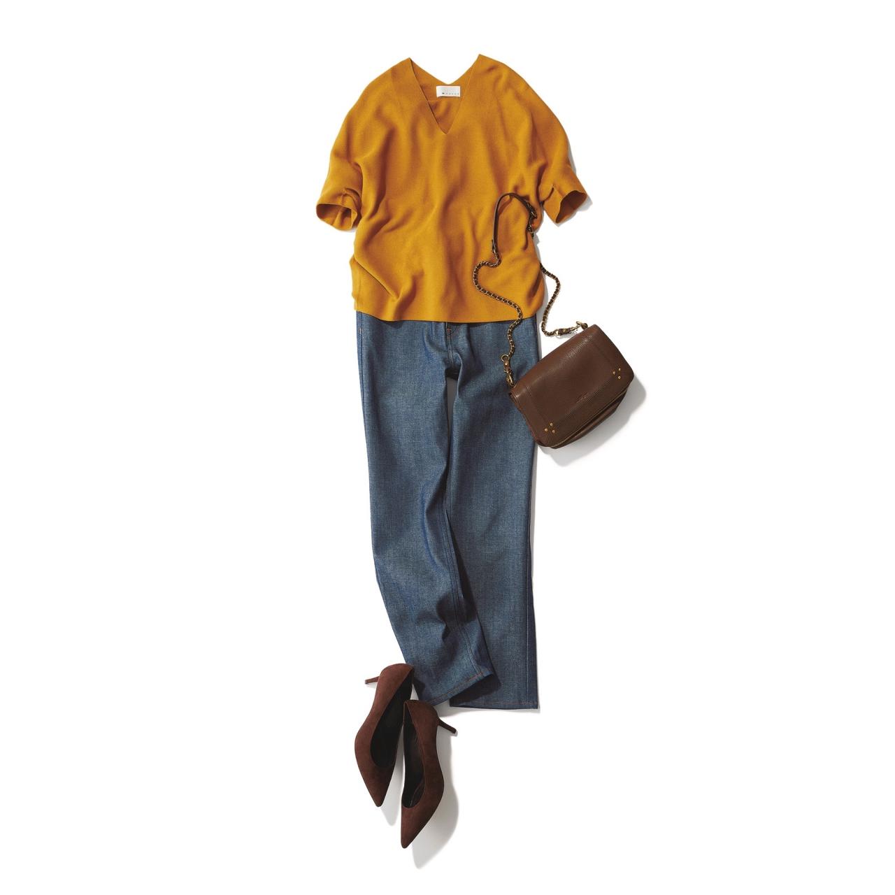 きれい色ニット×デニムのファッションコーデ