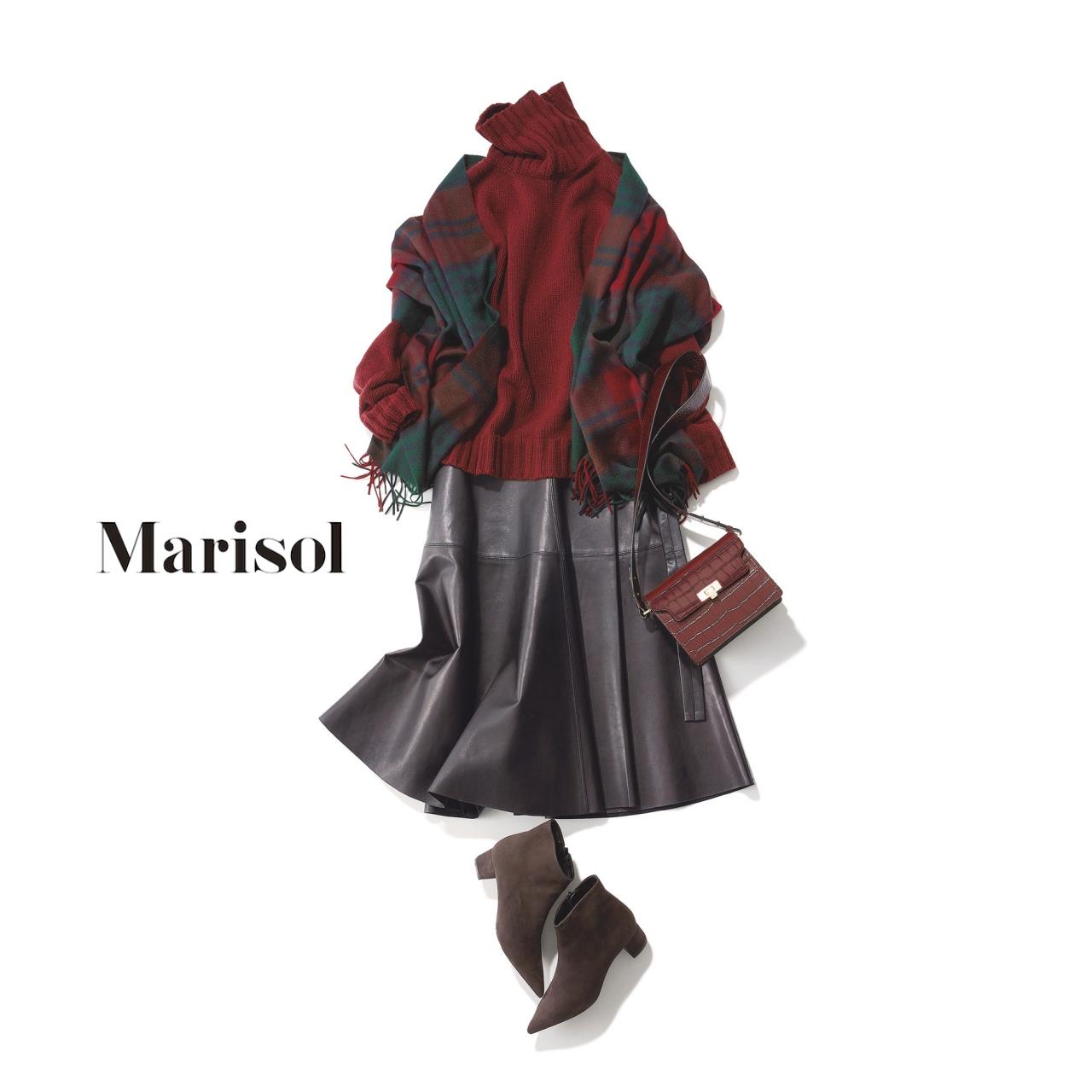 40代ファッション ボルドーニット×レザースカートコーデ