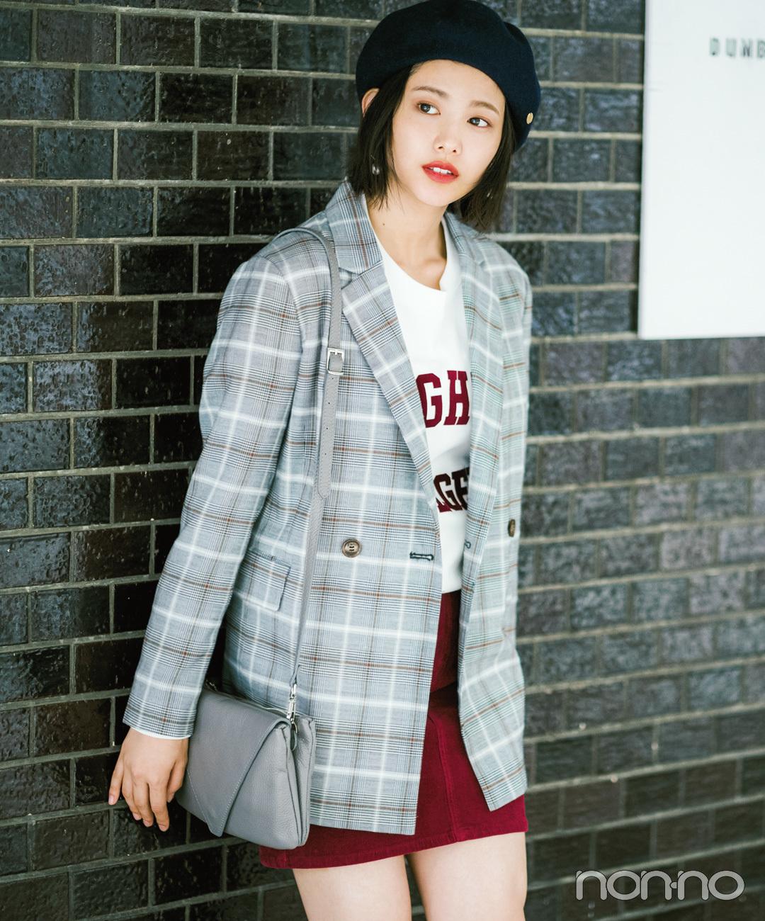 【台形ミニスカートコーデ】丈が長めのジャケットは、台形ミニでメリハリを♡