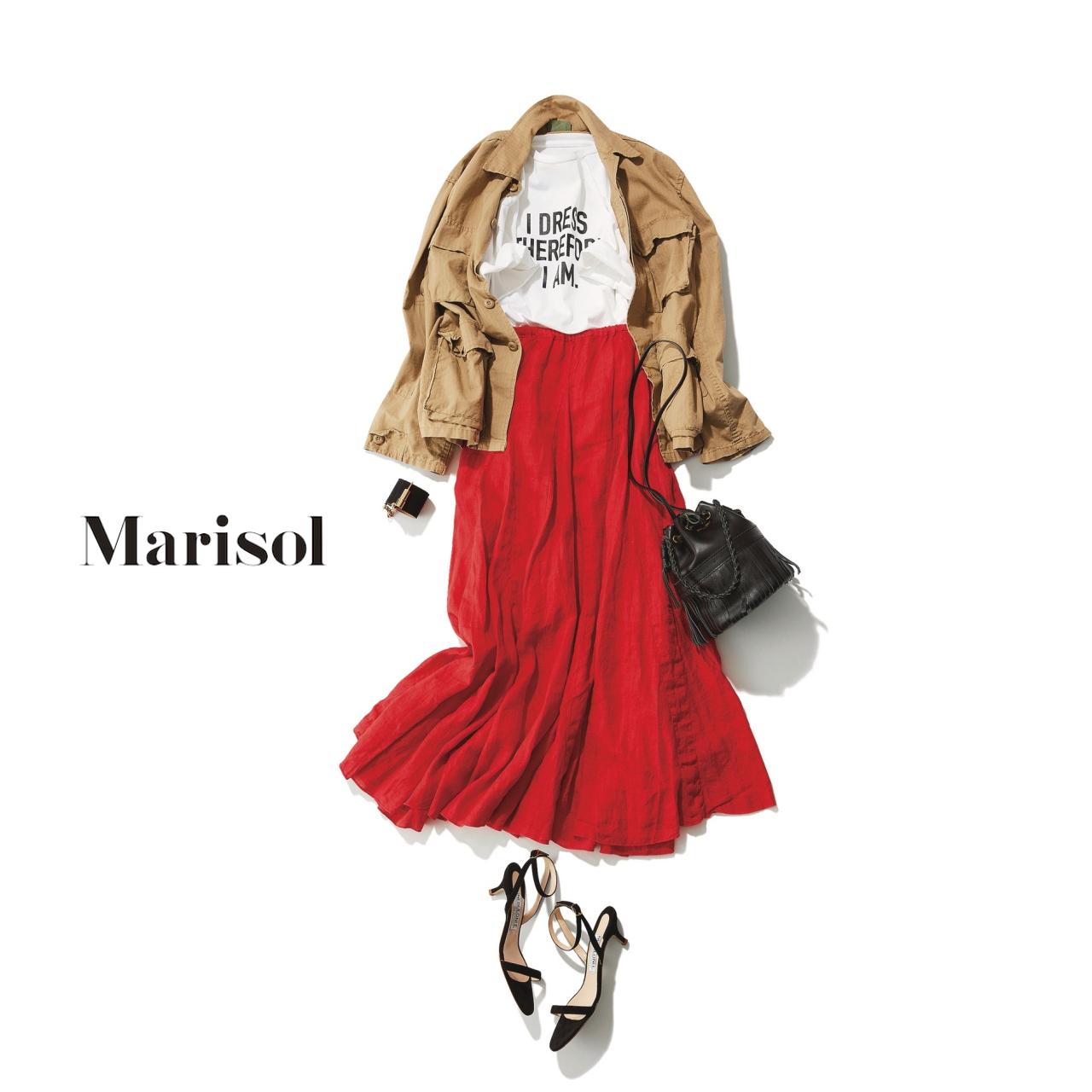 40代ファッション ブルゾン×Tシャツ×赤マキシスカートコーデ