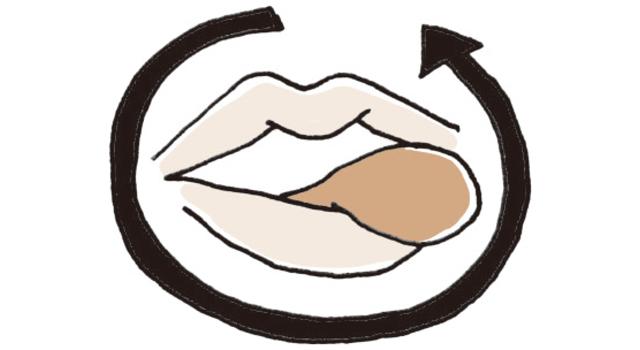 唇をなめるように舌をゆっくり3周回す。