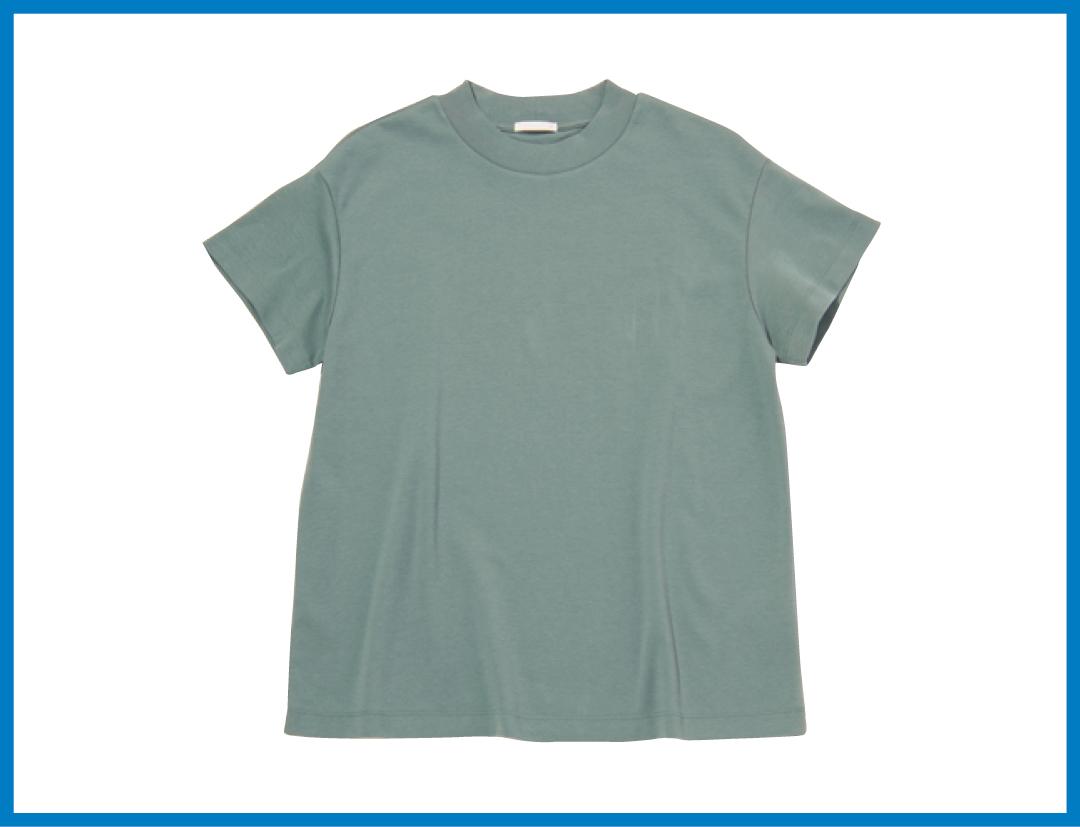 GUの990円くすみグリーンのTシャツが超優秀★ 4通りに着回し!_1_2