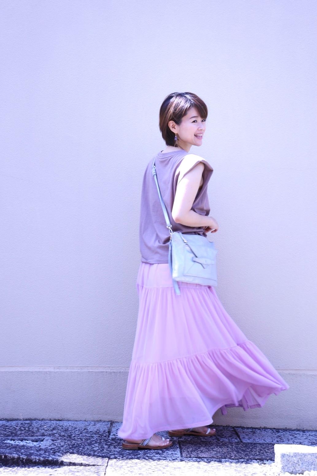 ZARAの細見えパワーショルダートップスと、きれい色のひらりんスカート♡_1_3