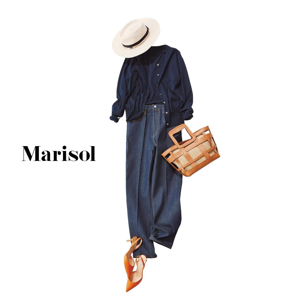 40代ファッションアンサンブルニット×デニムパンツコーデ