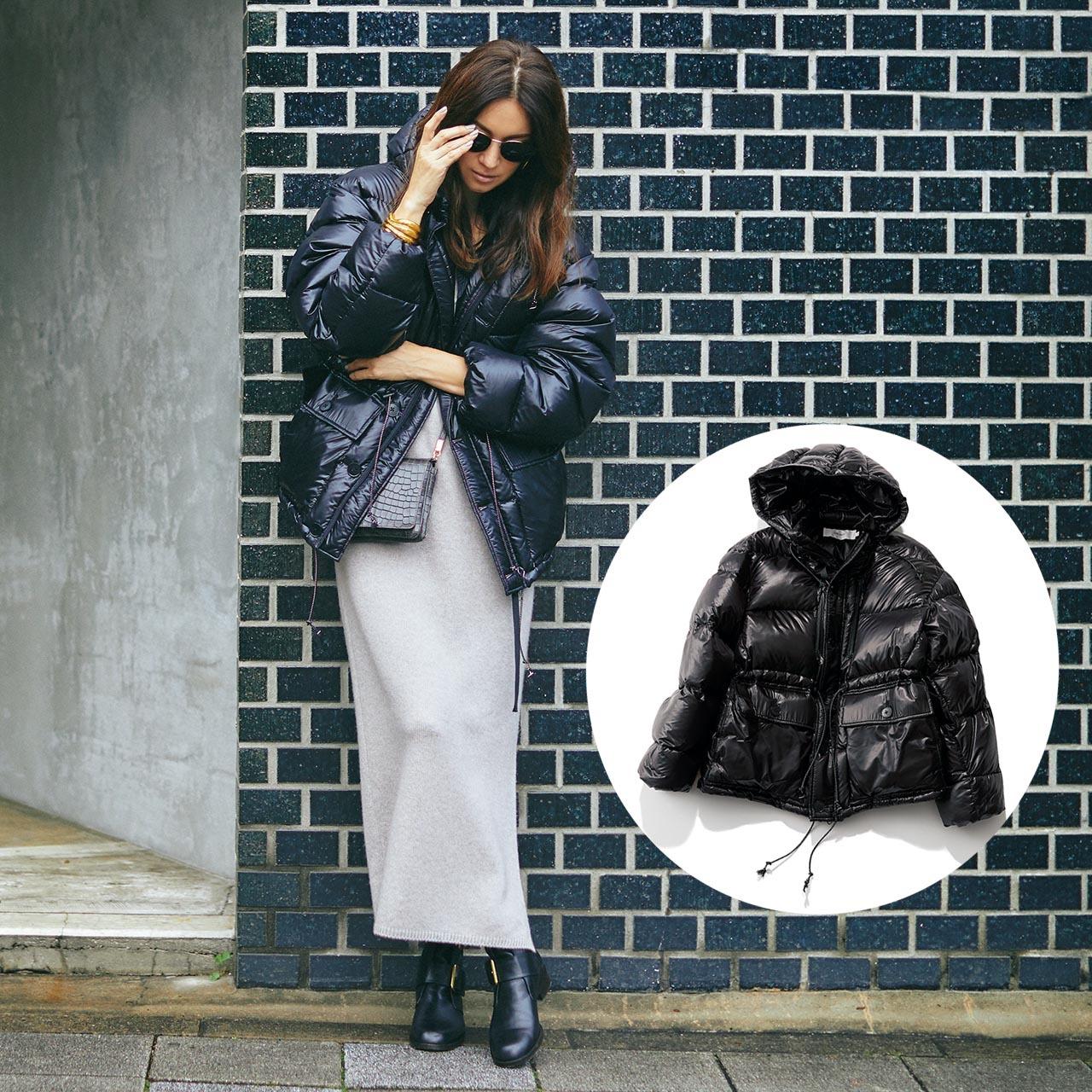 ダウンジャケット×ワンピースコーデを着たモデルのブレンダさん
