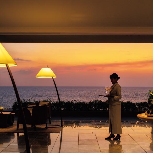 夕暮れ時の景色が美しいハレクラニ沖縄