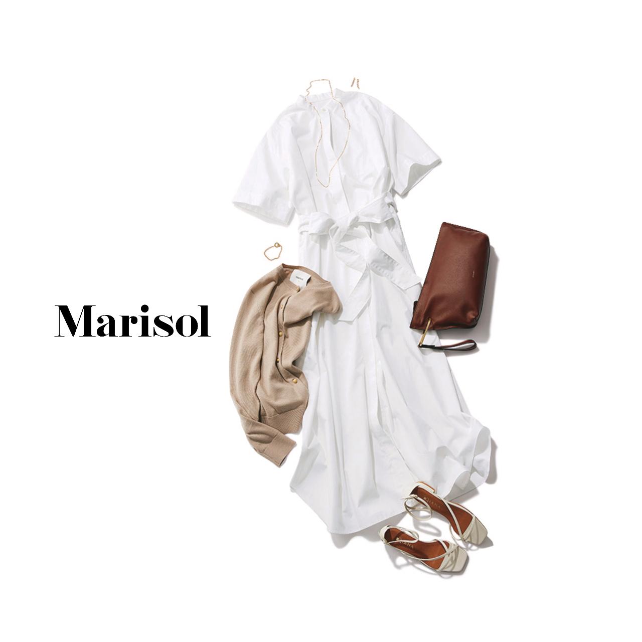 40代ファッション  白シャツワンピース×ベージュカーディガンコーデ
