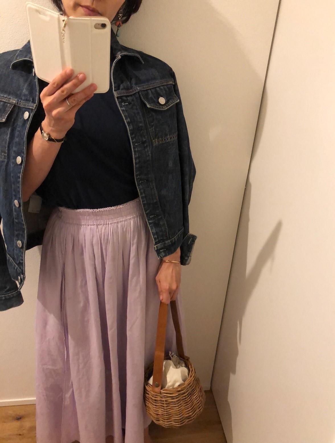 HanesメンズのTシャツとふんわりスカートでワンツーコーデ♪_1_1