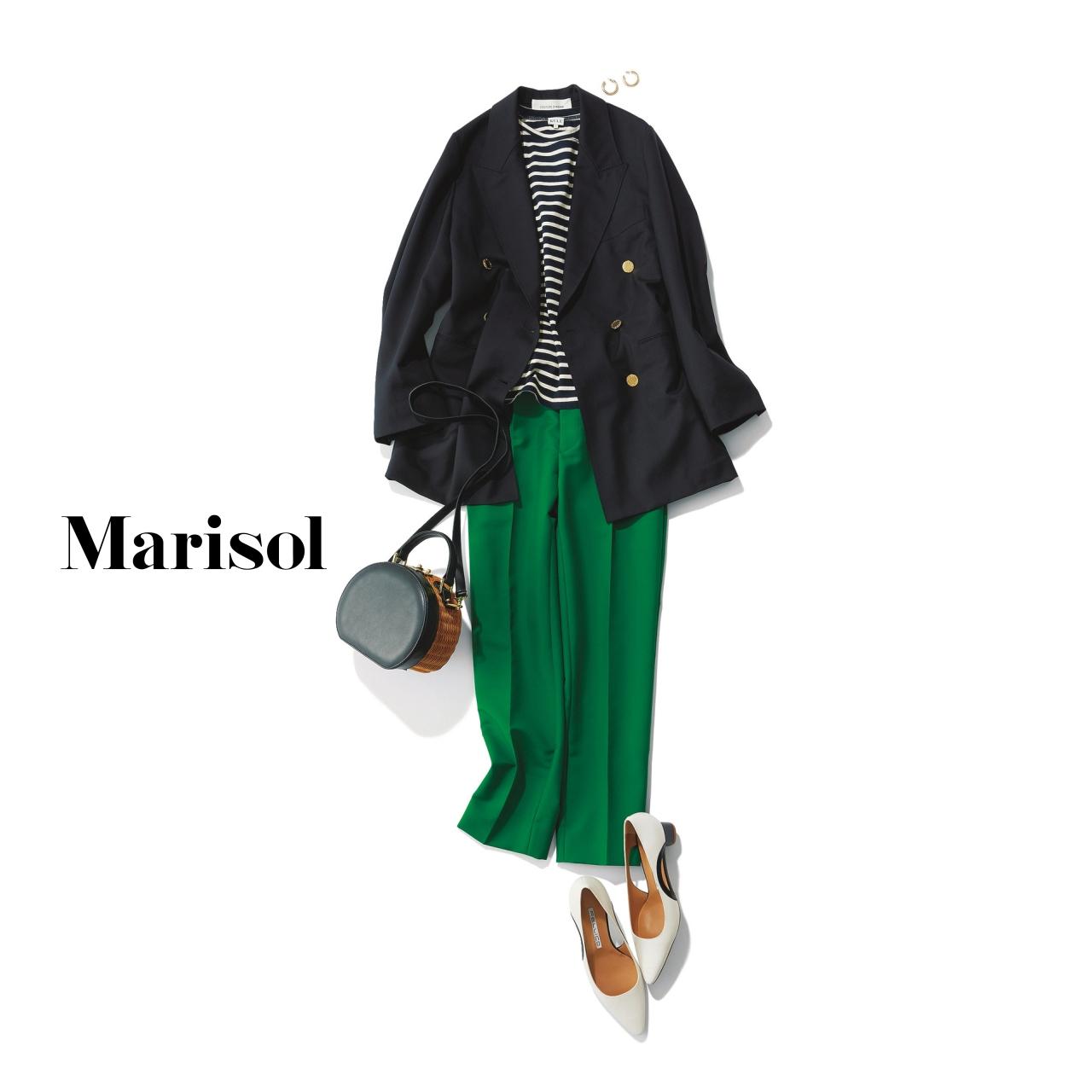 40代ファッション ネイビージャケット×ボーダー×グリーンパンツコーデ