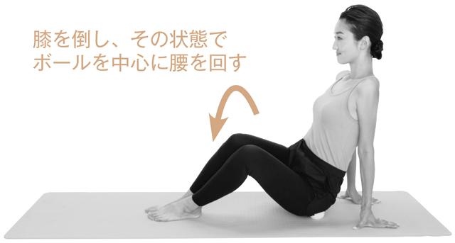 そろえた膝を左に倒し、ボールを押しつぶすように腰を回す